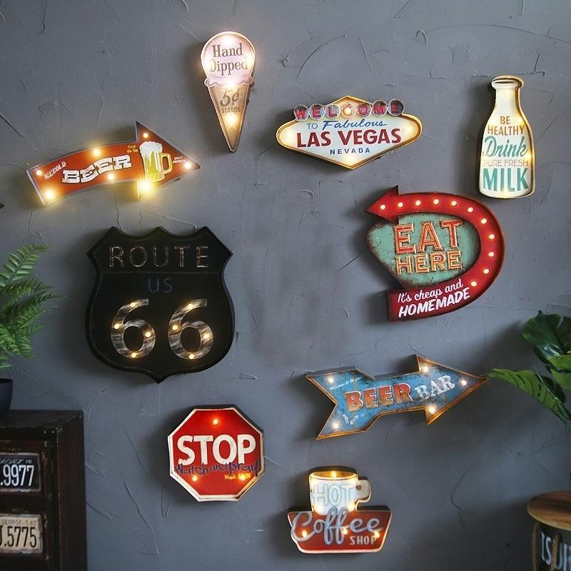 Las Vegas Led Neon Coffee Metal Sign Cafe Pub Bar Illuminated Signboard Art Painting Wall Decor Hanging Light Metal Signs T200319