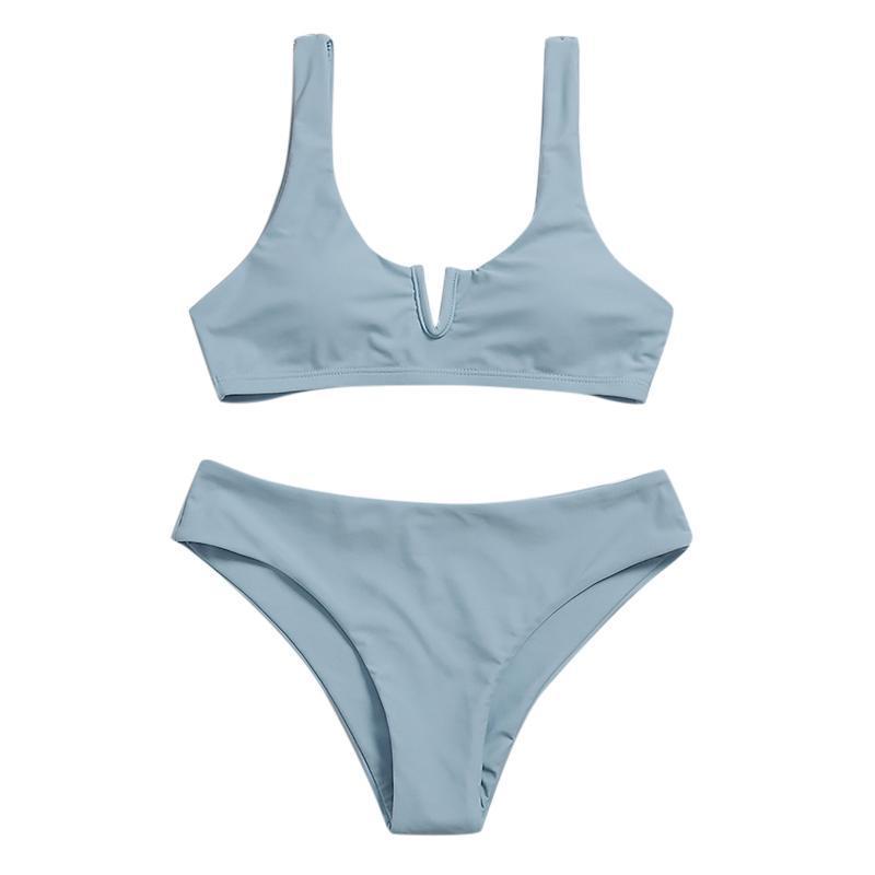 Women's Swimwear Bikinis Set Sexy Sling High Breast Solid Color Split Bikini One Piece Swimsuit Traje De Baño Para Mujer