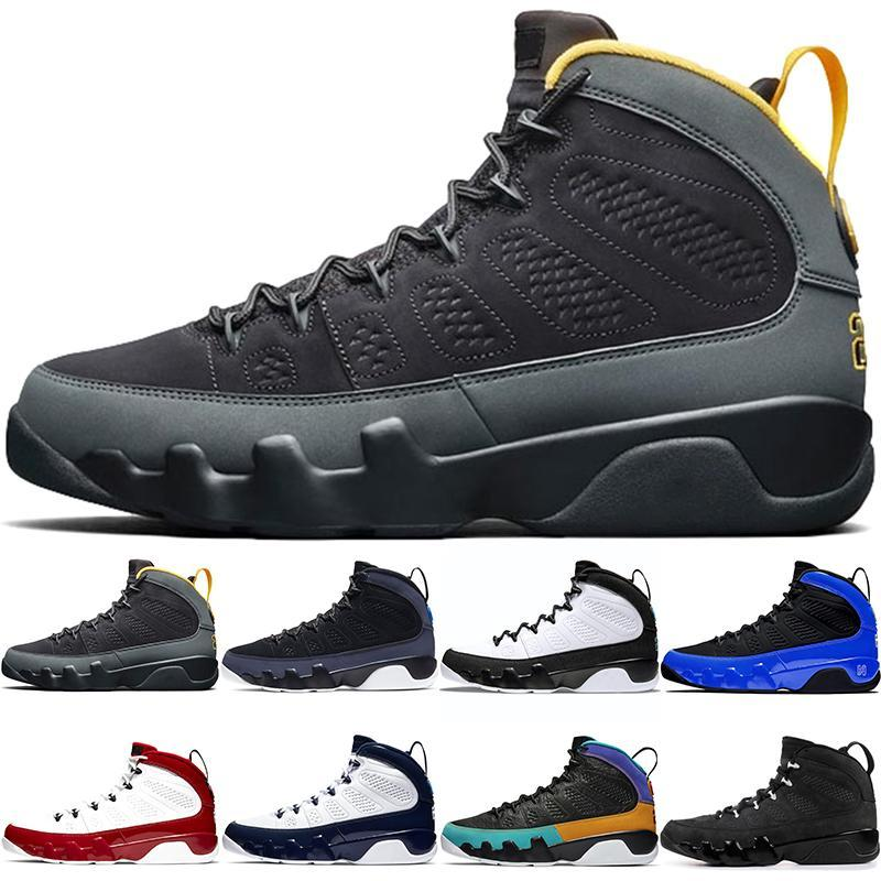 2021 9 Racer Blue Blue Hommes Chaussures de basketball Dark Charboal University Gold Modifier le World 9S Gym Barons Red Barons Unc Sports Sports Sports Sports Bred Dream Do It Statue avec une boîte