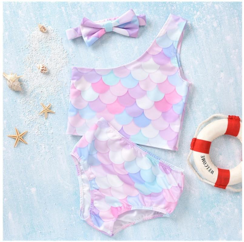 Three-Pieces Sets For Baby Girl Summer Swimsuit Two-Pieces Fish Scales Girls Bikini Swimsuits Kids Toddlers Bathing Suits Infant Beach Swimwear