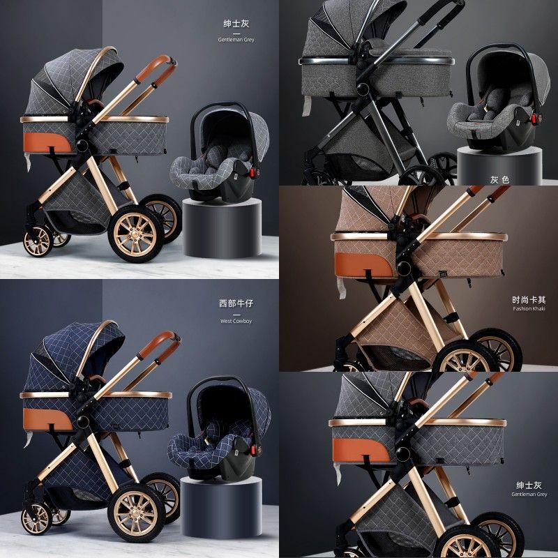 2020 Nuovo passeggino del bambino 3 in 1 Paesaggio alto Paesaggio reclinabile Carrozzino Pieghevole Pieghevole con Bassinet Cradel 390 U2