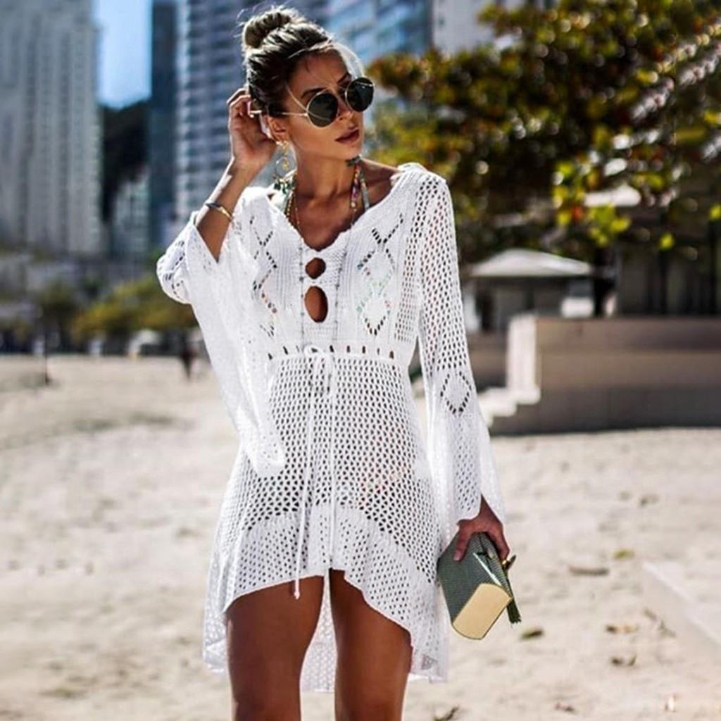 Donne Crochet Copertura solare Cover Up Bikini Costumi da bagno Knit Beach Punto di costume da bagno Bandaggio Brasiliano Tankini Brasiliano Maillot de Bain Femme30