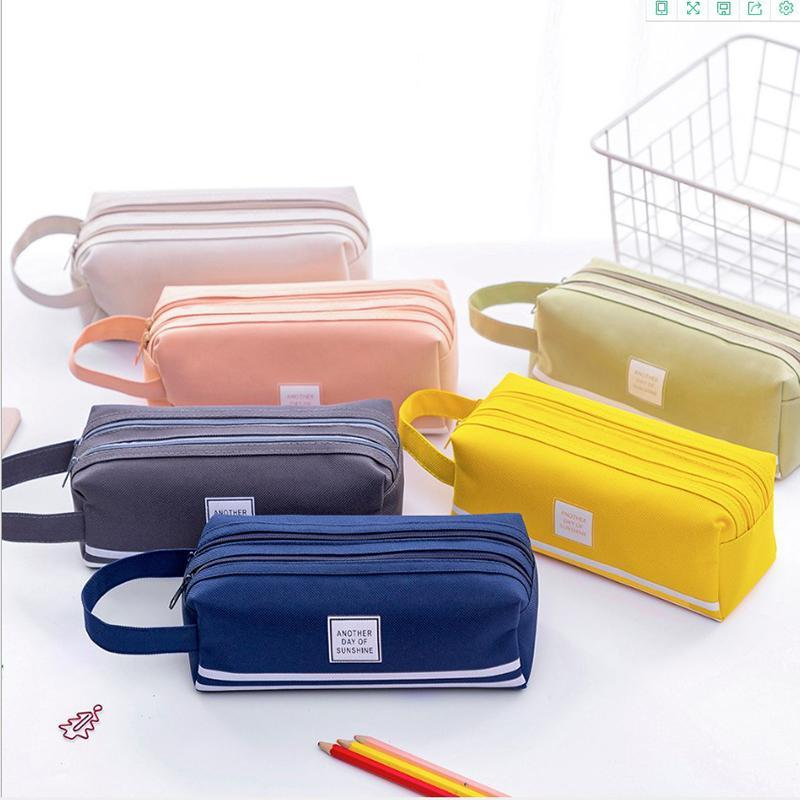 Large Capacity Stationery Storage Bag Cute Pencil Case Oxford Cloth Pen cases Kawaii Gift Office Students Kids School Supplies Advertising Gifts