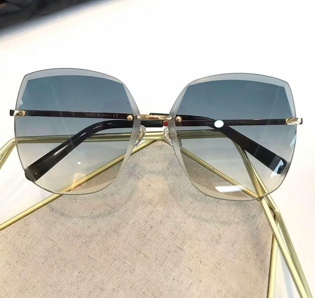 Frauen Sonnenbrille Randlose Rahmen Blaue Gradientenlinsen 5427 Sonnenbrille Sonnenbrille Frauen Randlose Sonnenbrille Neu mit Box