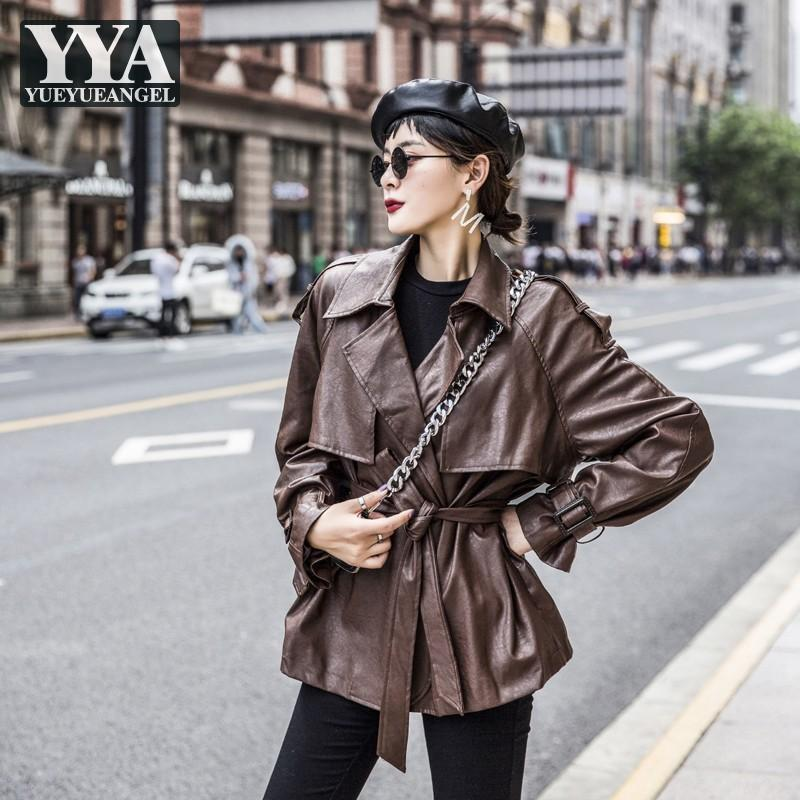 Spring Overcoat Femmes Cuir PU Trench Street Loose Casquette Moto Moto Automne Solide Fashion Casual Turreau d'extérieur