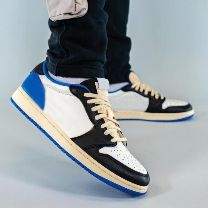 Jumpman 1s 낮은 망 농구 신발 1 트래비스 스콧 대학교 블루 하이퍼 로얄 섀도 2.0 중립 회색 여자 운동화 스포츠 트레이너
