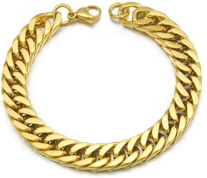 """Braccialetti in acciaio inox placcato in oro a tre colori gioielli da uomo a catena 22 cm 8.7 """"lunghezza 9mm di larghezza"""