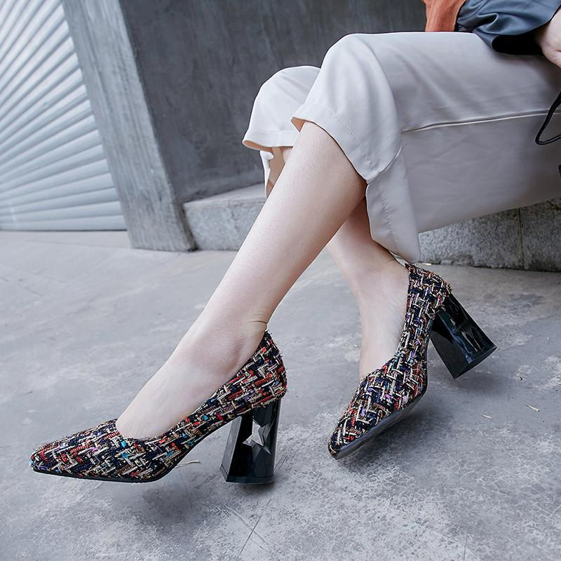 Zapatos de vestir YMechic Ladies Slip on Plaza Toe Chunky Block Tacones altos Mujer Plaid Casual Primavera Verano Gran tamaño Bombas Bombas Mujeres