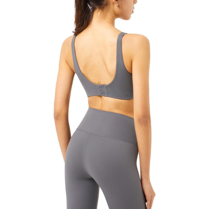 Trajes de yoga 2021 Hebilla sin fisuras Sujetador deportivo Sistema de backless Ropa de aptitud Fitness Mujeres Sólido Color Gimnasio Ropa Conjunto Mujer