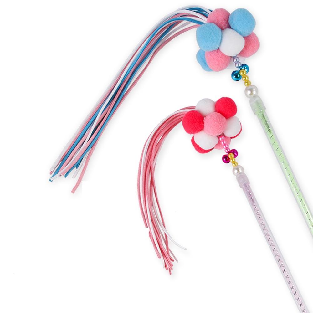 Hundespielzeug Haustier Spielzeug Koreanische Glocke Samt Kugel Feder, die Süßigkeiten Farbe spielen Quaste Fee Funny Cat-Stick