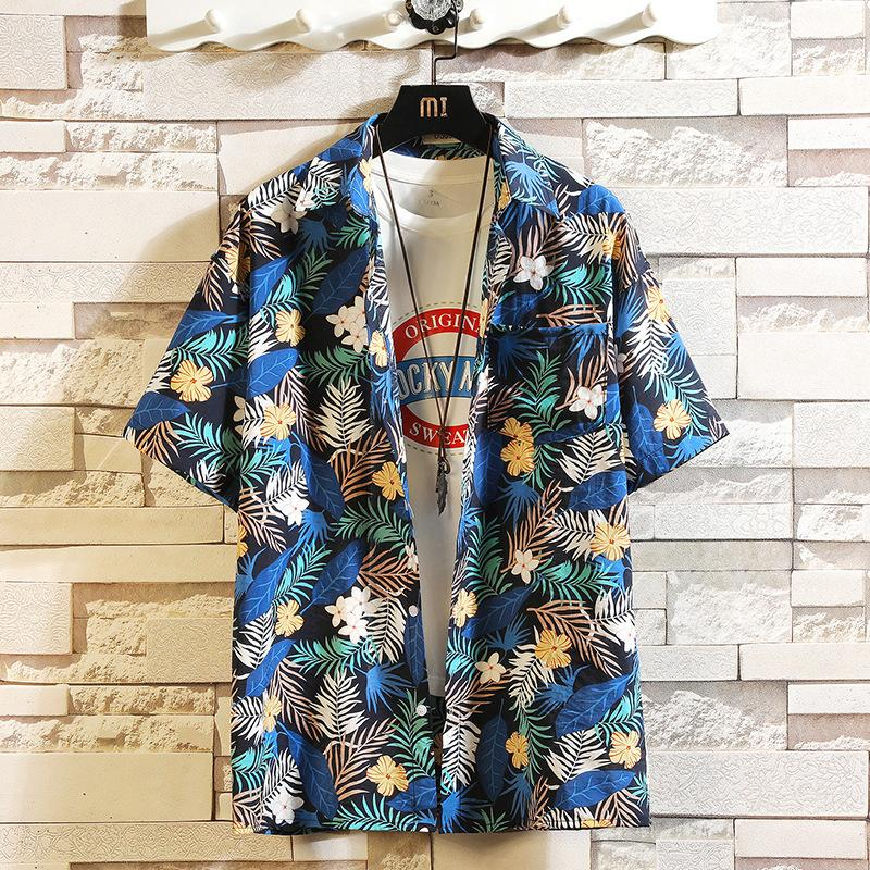 Imprimer Marque 2021 Été Homme Beach Shirt Mode manches courtes Floral Lâche Chemises occasionnelles et taille Asiatique M-4XL 5XL Hawaiian 210305