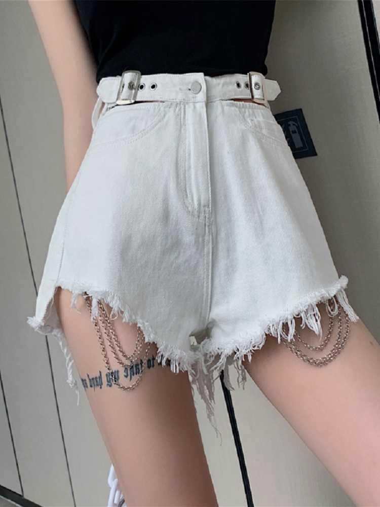 Sommer Neue heiße sexy Ausschnitt Ketten Krempe Frauen Denim Shorts Jeans Dame Hohe Taille Kurze Hosen Y0602
