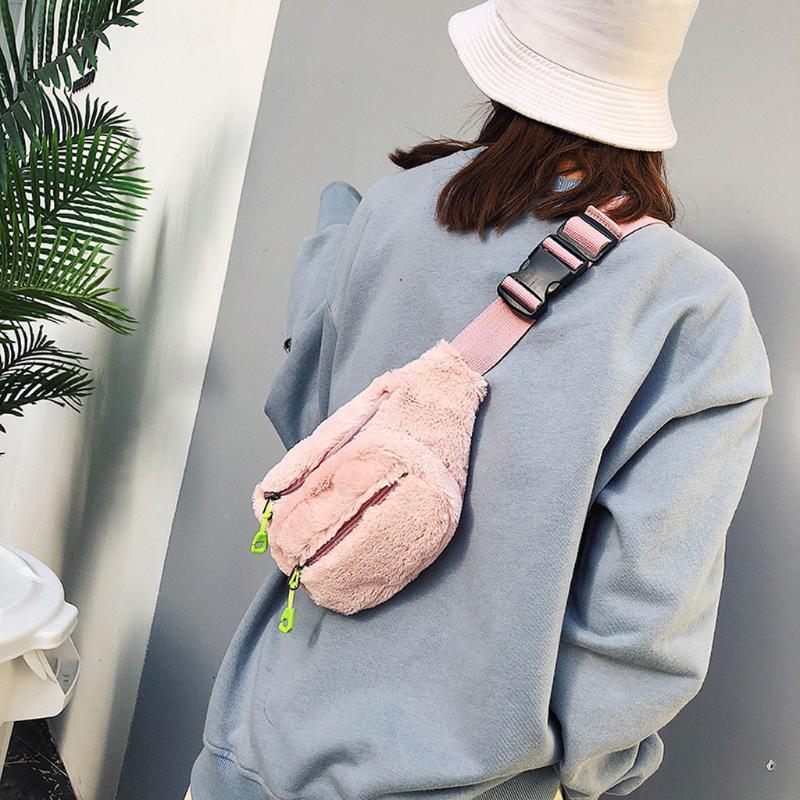 Frauen Taille Taschen Doppel Reißverschluss Plüsch Taille Packung Diebstahl Brusttasche Outdoor Sport Umhängetasche Funktionelle Taschen Bolsa Mujer