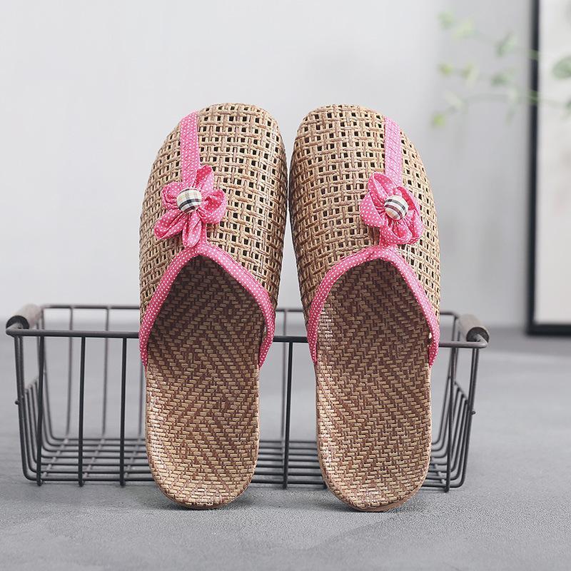 Cana Meios Slipper Shoes para Verão Flor Toe FECHADO 2021 Novos chinelos femininos mules chinelos para casa sapato de linho respirável