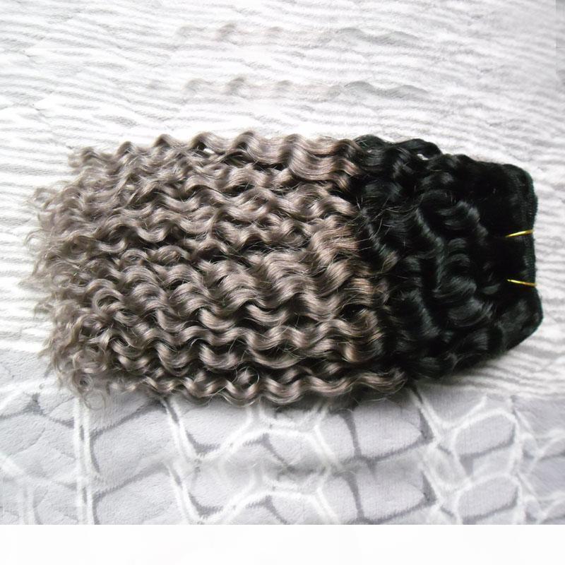 Ombre Ham Hint Kıvırcık Saç Demetleri Olmayan Remy Örgü 100G 1B Gery İki Ton Ombrehuman Saç Uzantıları Çift Atkı