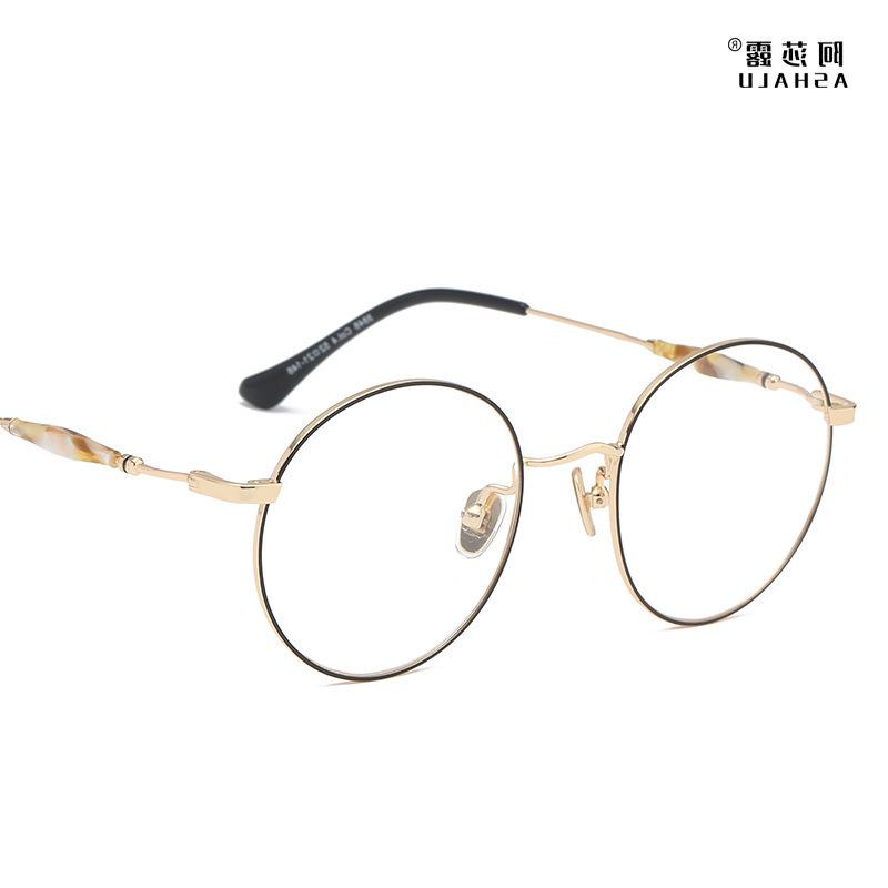 Asalu Round Eyeglass Women's Metal Art Flat Fashion Spectacle Frame Can Be Equipped with Myopia Lens