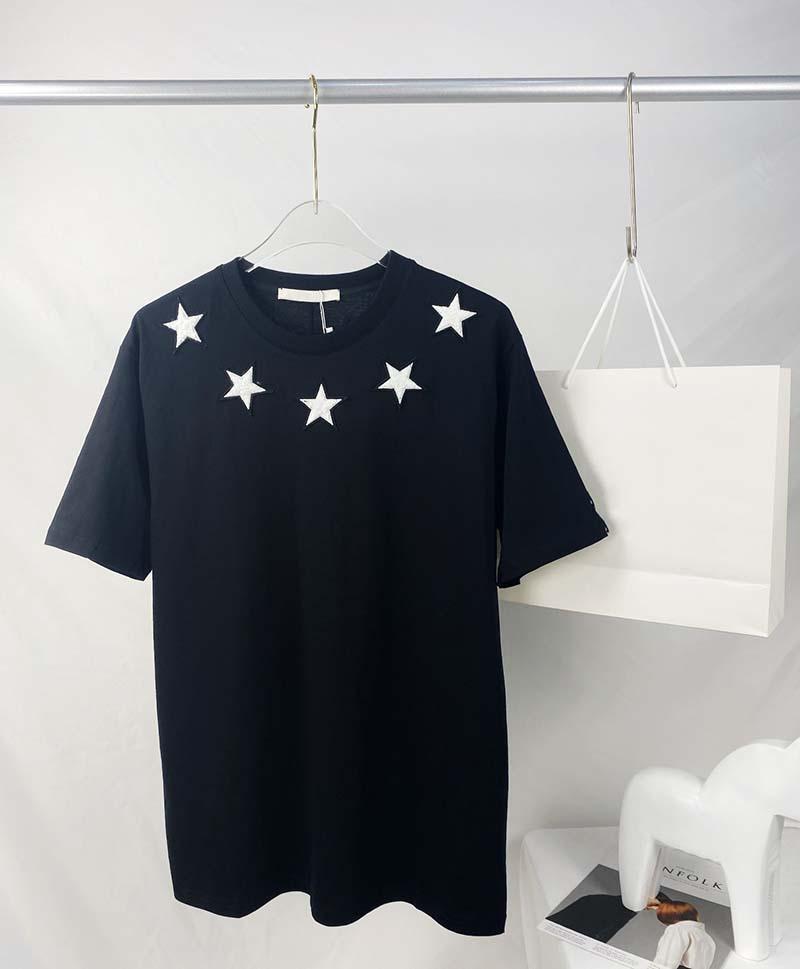 Mens Tee T Shirtsfive Заостренное звездное полотенце вышивка мужская одежда с короткими рукавами мужские рубашки тег буквы поло новому черному белому