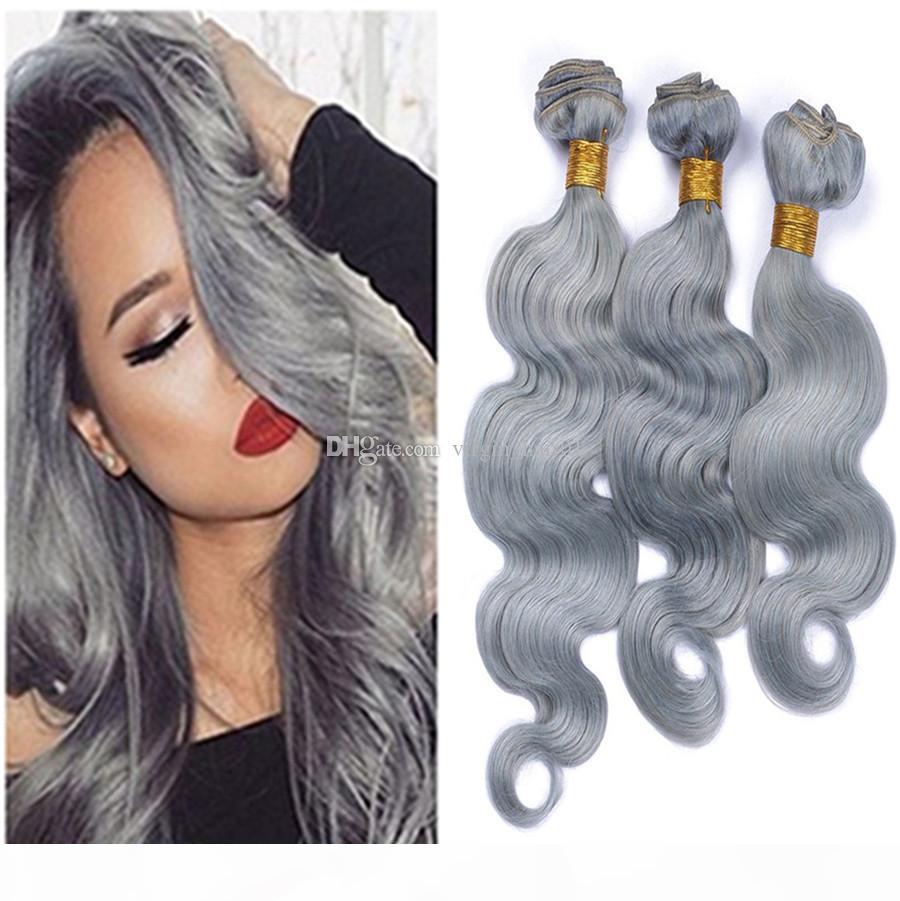 9а серые бразильские девственницы волосы волосы волновые волнистые расширения Щелевые серые волосы ткачество 3 пакета сделки с необработанными девственными человеческими волосами