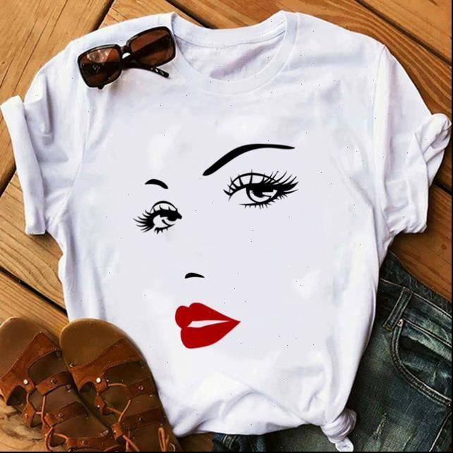 Trucco Art Eyelashes Stampa Vogue T Shirt Women Kawaii Streetwear Hipster Summer Tops Donna Vestiti