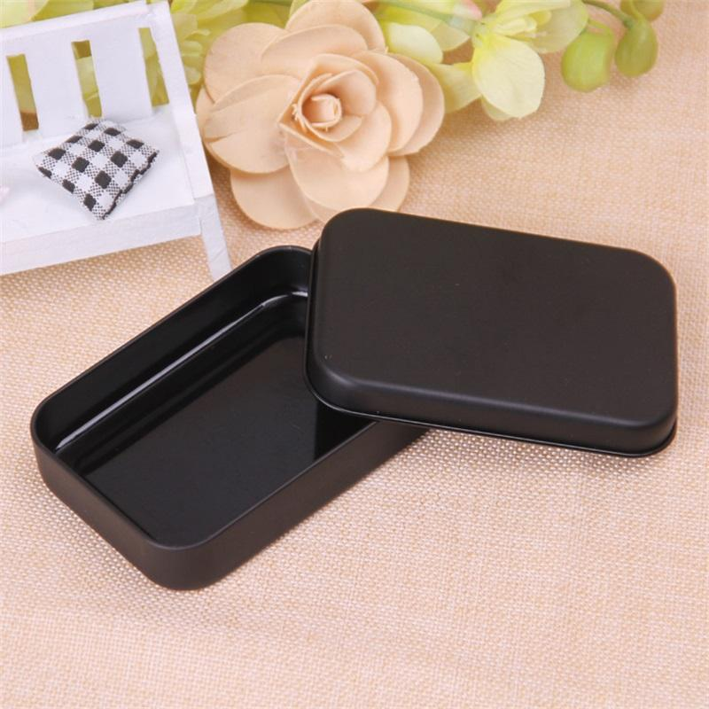 Прямоугольник олово коробка черный металлический контейнер олова коробки конфеты ювелирные изделия игральные карты хранения коробки подарочные упаковки 248 v2