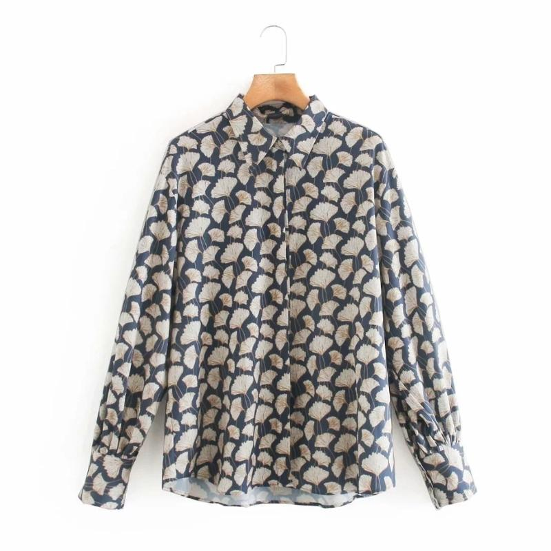 Vintage Donne Gingko Leaf Stampa Camicia a maniche lunghe Casual Femme Turndown Collar Camicetta Lady Top Sinces Smock BlusAS S7908 210226