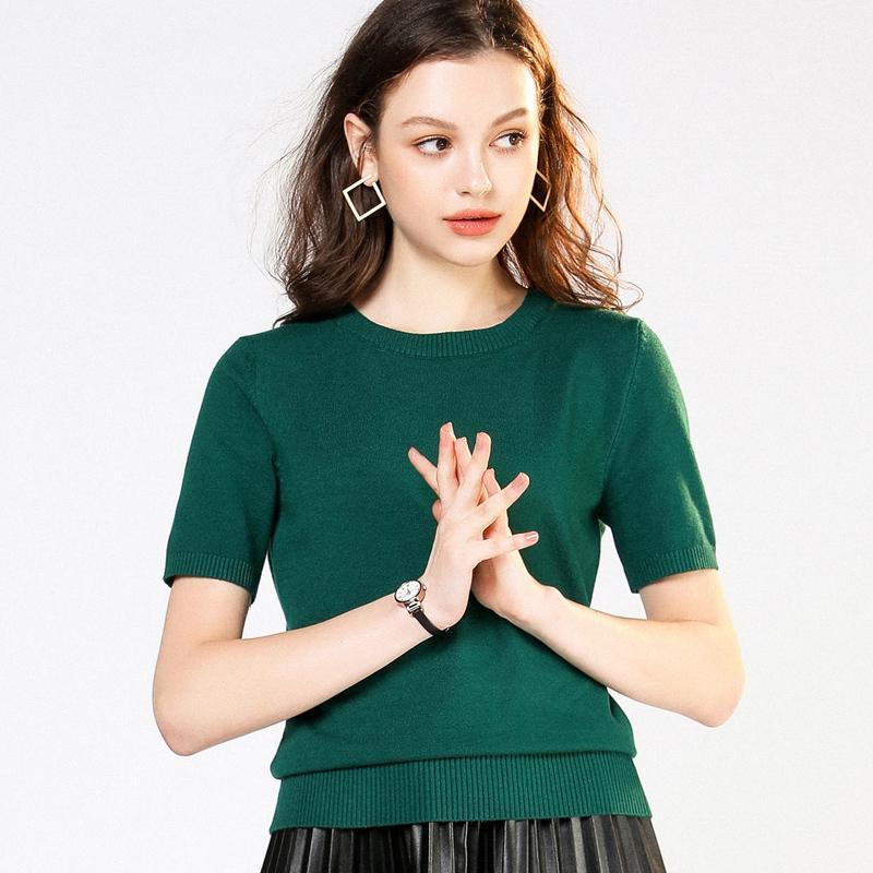 2019 rodada pescoço de manga curta tricotada primavera e verão nova solta mulheres terno tamanho grande camisa de fundo baixo colarinho