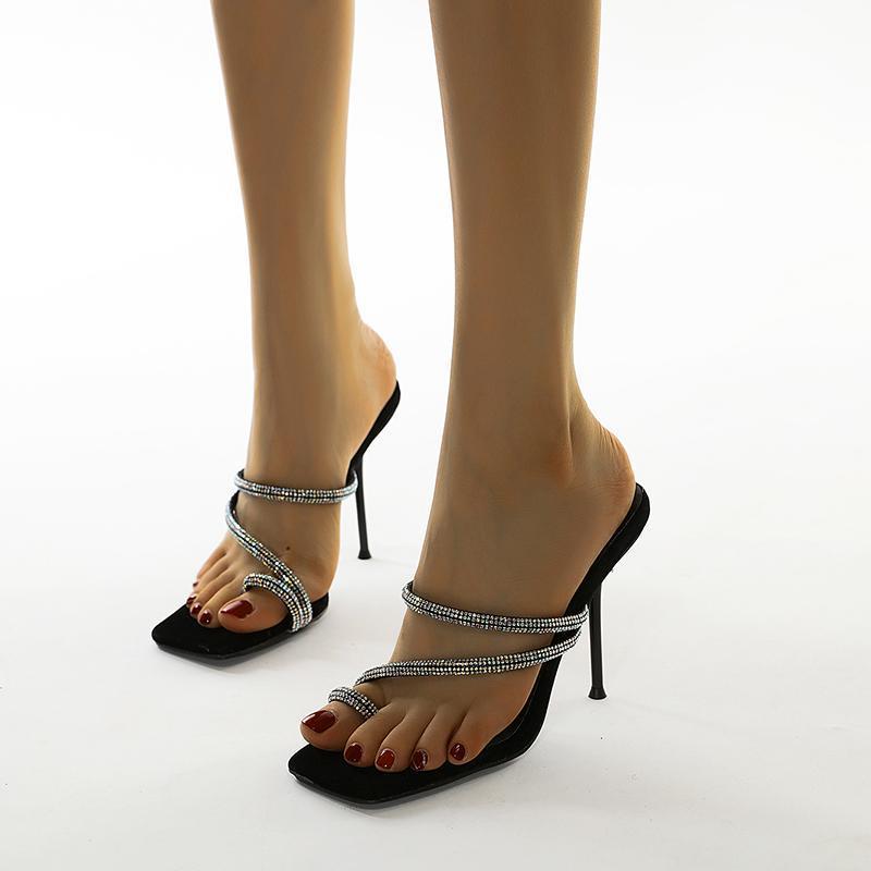 Женские насосы 2021 Sexy Peep Toe Slip-на свадьбу Бренд моды горный хрусталь каблуки высокие каблуки сексуальные дамы женские одежды обувь