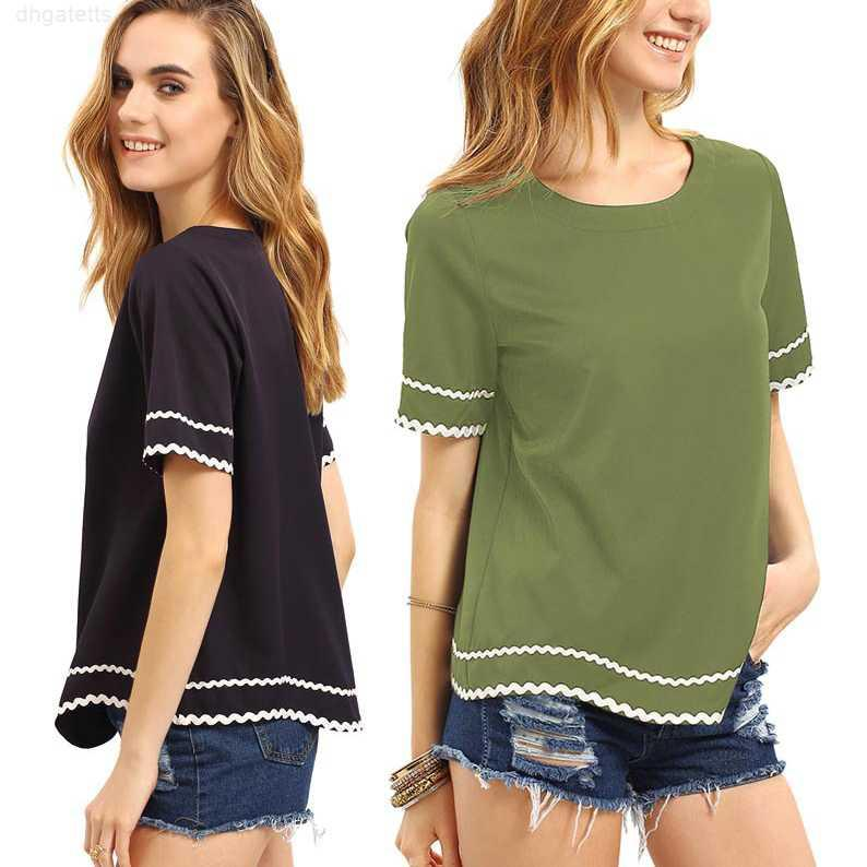 luxury t shirt womens short-sleeved designer brand Fashion t shirts large size women clothes hit color stitching casual t shirts for women