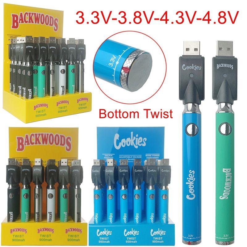 Em estoque 30 pcs display box cookies backwoods bateria de torção 900mAh pré-aquecer pré-aquecimento VV Variável tensão 510 baterias de rosca com carregador USB