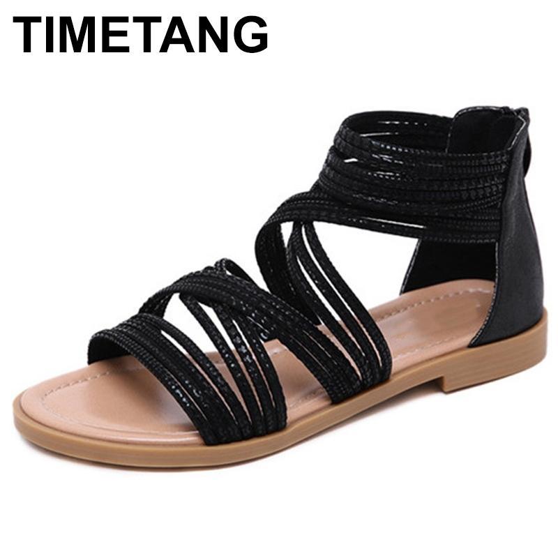 Timetang Yaz Ayakkabı Kadın Sandalet Kafes Kayışı Sandalias Mujer 2021 Kadınlar için Açık Toe Düz Ayakkabı Gladyatör Sandalet Plusizee454 210302