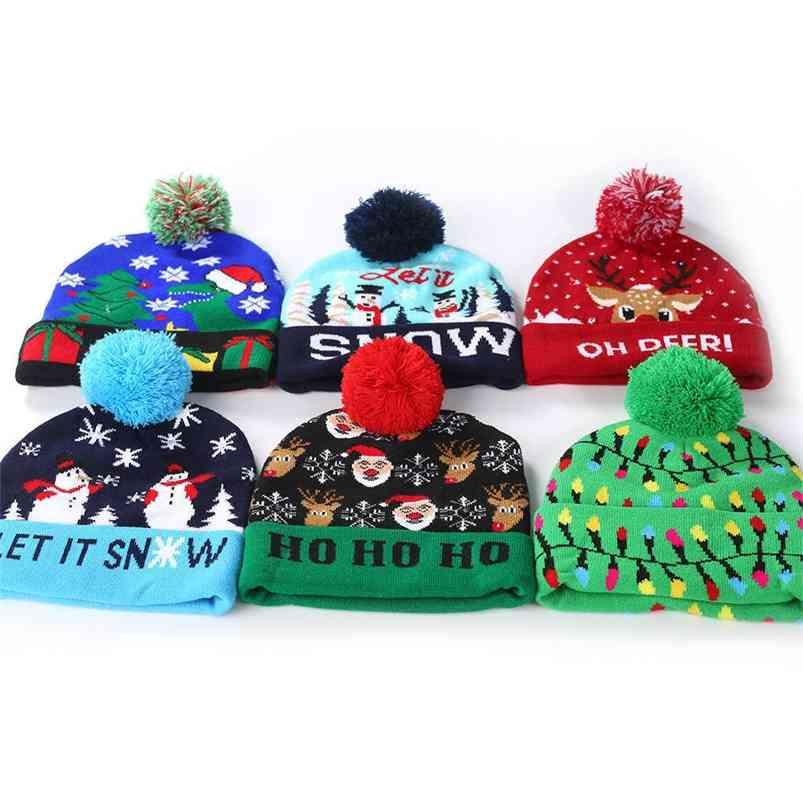 Christmas Letters Printed Children's Knitted Hat With LED Winter Warm Colorful Lights Adult Kids Boys Grils Halloween ELK Santa Crochet Hats Caps H916T5MT