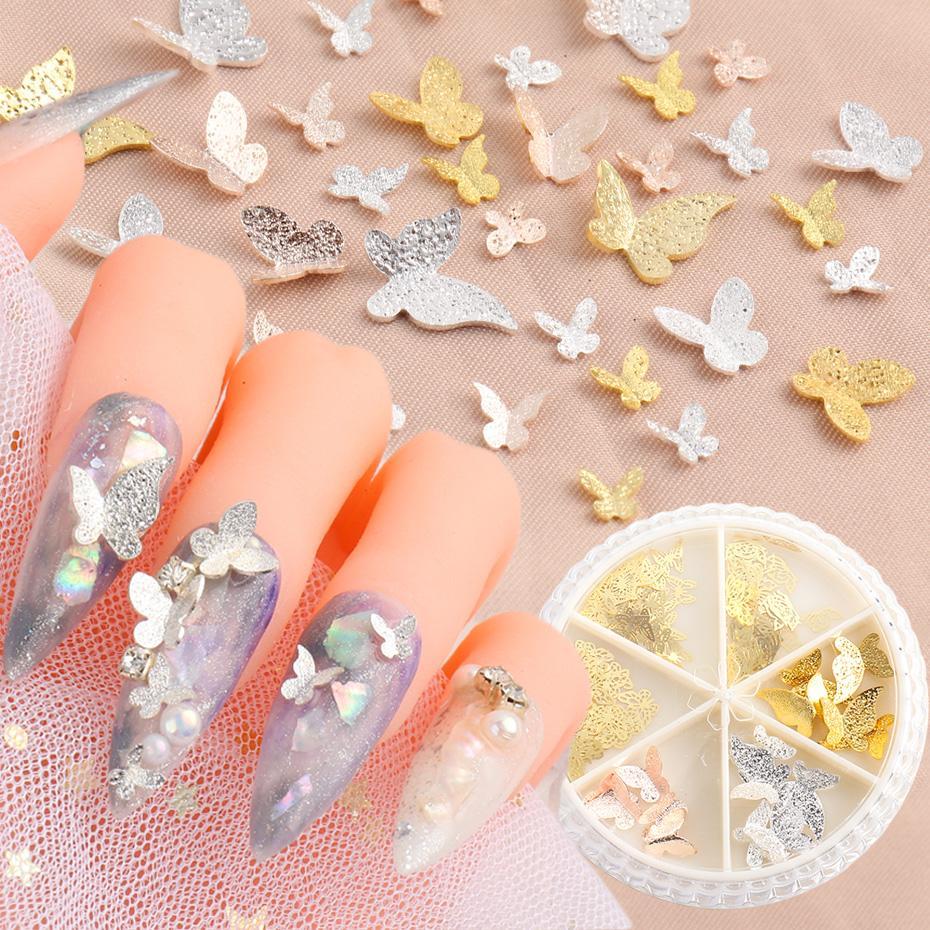 Aleación 3D rosa oro mariposa escama clavo arte decoración oro plata brillo metal hueco stud estereoscópico lentejuelas uñas gema sa1628