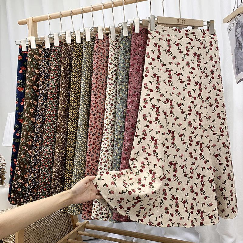 Ventilation de velours velours à imprimé floral Femmes Vintage High Taille High Spirng Automne Mid-mollet Longueur A-Line Jupes Jupe coréenne Femme 210225