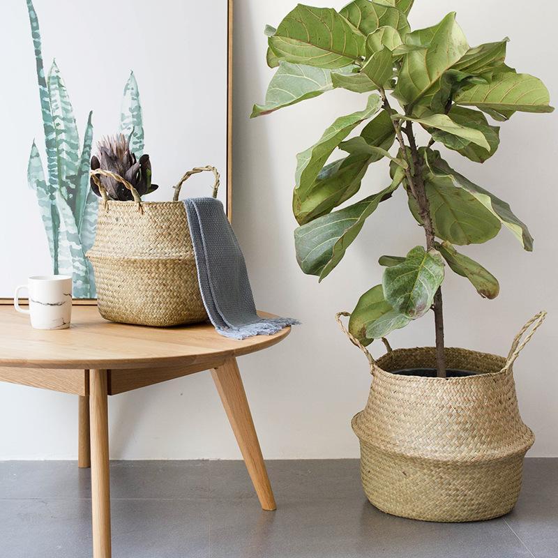 Haushaltsaufbewahrung Faltbare Natürliche Seegras gewebt Lagerkorb Topf Garten Blume Vase Hängende Weidenkorb Bauchkörbe 521 S2