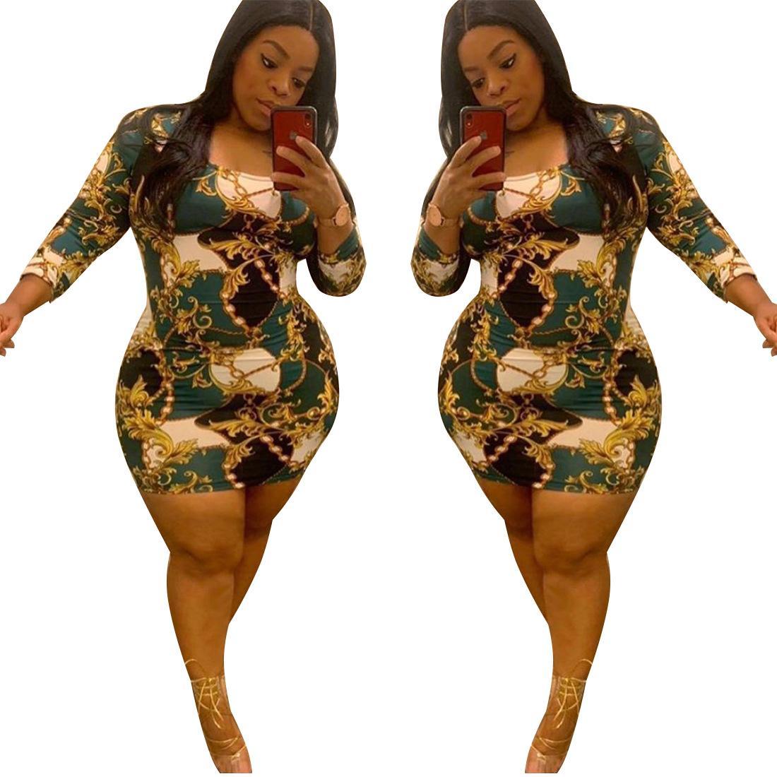 Распечатать платье с длинным рукавом плюс размер летние женщины высокая талия мини юбка круглые шеи тонкие узкие упругие платья винтажная одежда