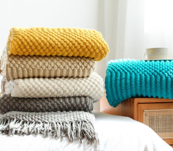 La dernière couverture de 130x200cm, une variété de tailles et de styles à choisir, serviette de lit en tissu de couverture de la queue de chale têquée