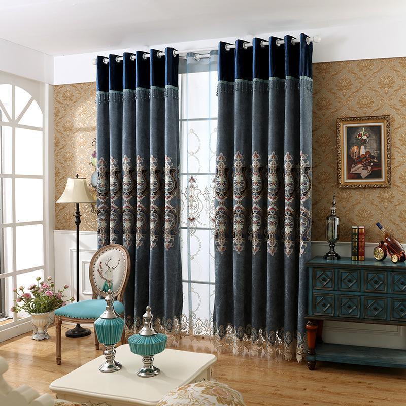 Vorhangdrapes benutzerdefinierte Nordeuropa Flanell geprägte bestickte Blackout-Vorhänge Tüll für Wohnzimmer speiset Schlafzimmer Luxus
