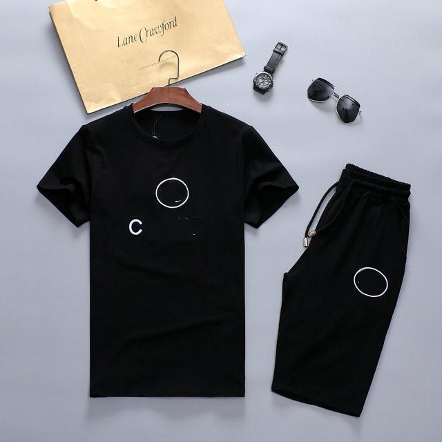 العلامة التجارية الرجال رياضية تي شيرت قصيرة بانت الأزياء الصلبة اللون الترفيه الدعاوى ركض مجموعة الأسود خياطة وصول الطباعة الزي