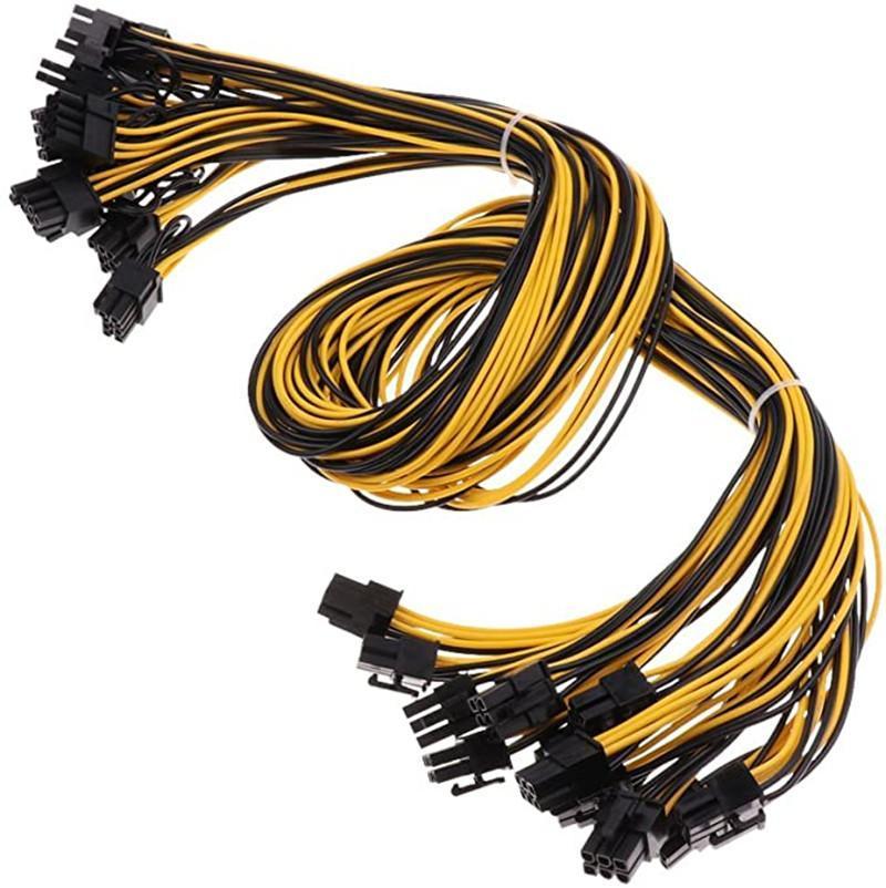 Connecteurs de câbles informatiques PCIe 6Pin à 8pin (6 + 2) Câble d'alimentation PCI-E mâle pour l'alimentation GPU ADAPTATEUR ADAPTATEUR ETHEREUM MININS