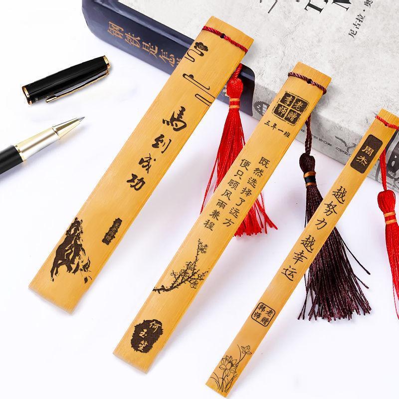 Yer İşareti Klasik Çin Tarzı Bambu Ahşap Basit Edebiyat ve Sanat Öğrenci Malzemeleri Ofis Kırtasiye Erkek Kız Hediyeler
