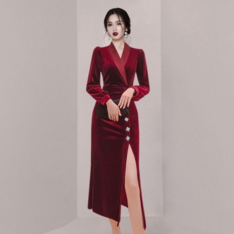 ZAWFL Hohe Qualität Modedesigner Runway Dres's Langarm Satin Patchwork Velvet 210603