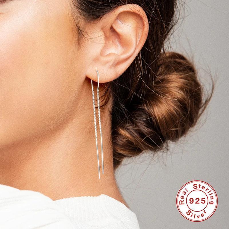 GS 925 Sterling Silver Simple Double Line Dangle Earrings For Women Long Tassel Chain Drop Earrings Wedding Party Jewelry