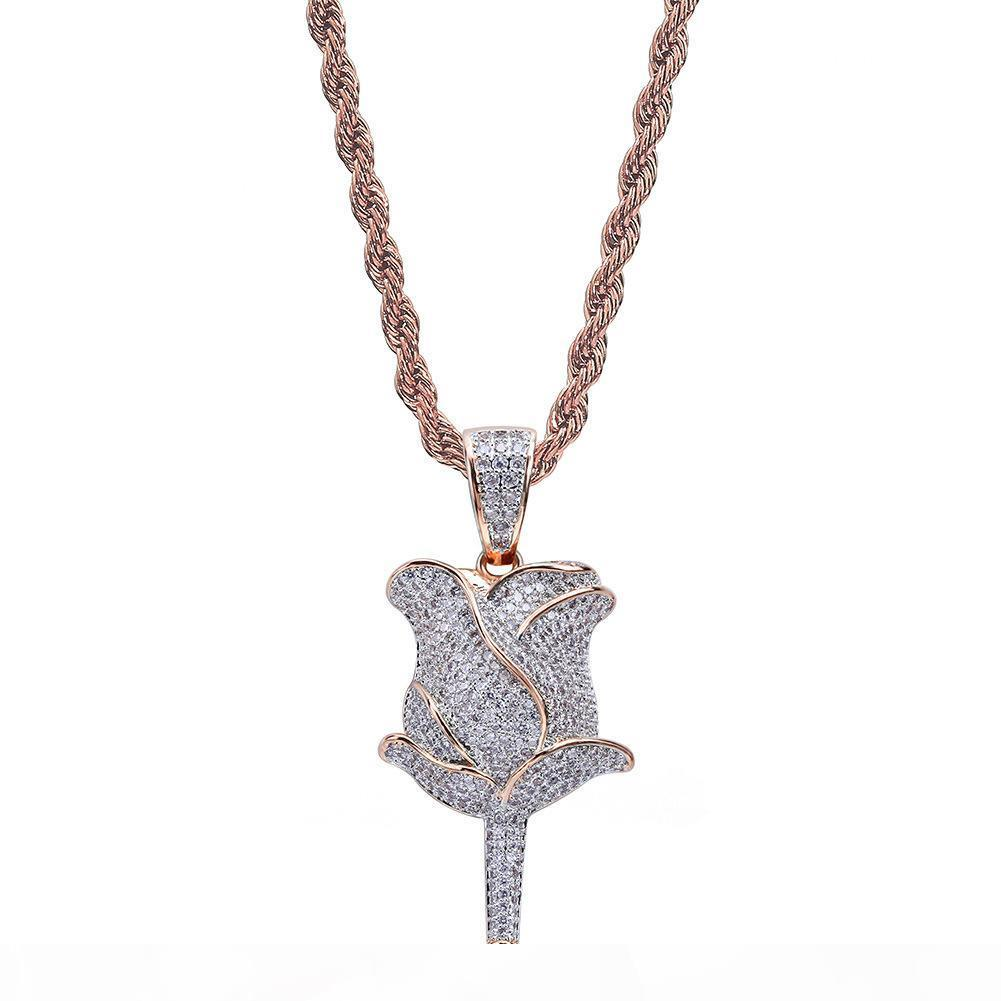 mens jewelry gold necklaces hip hop jewelry gold silver color Zircon iced out chains Retro flower Pendant mens necklace in stock wholesale