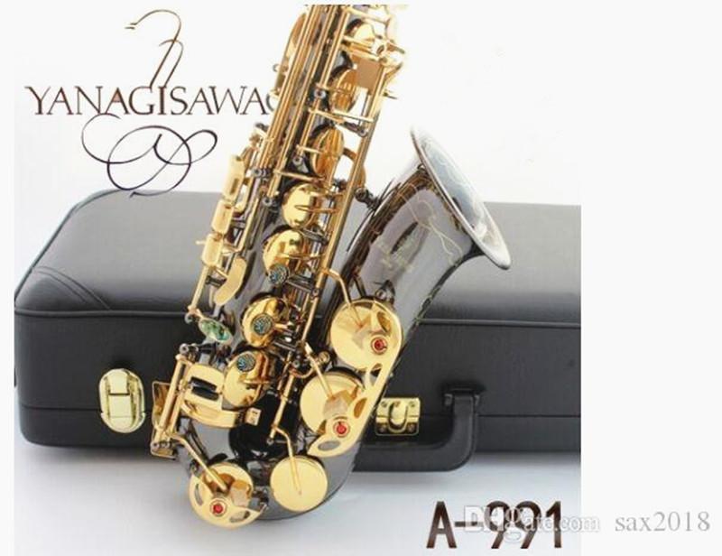 Saksafon Alto Enstrüman Japonya Yanagisawa Yeni E Alto Saksafon Enstrüman Bırak / Rüzgar / Tüp Siyah Nikel Altın Sax