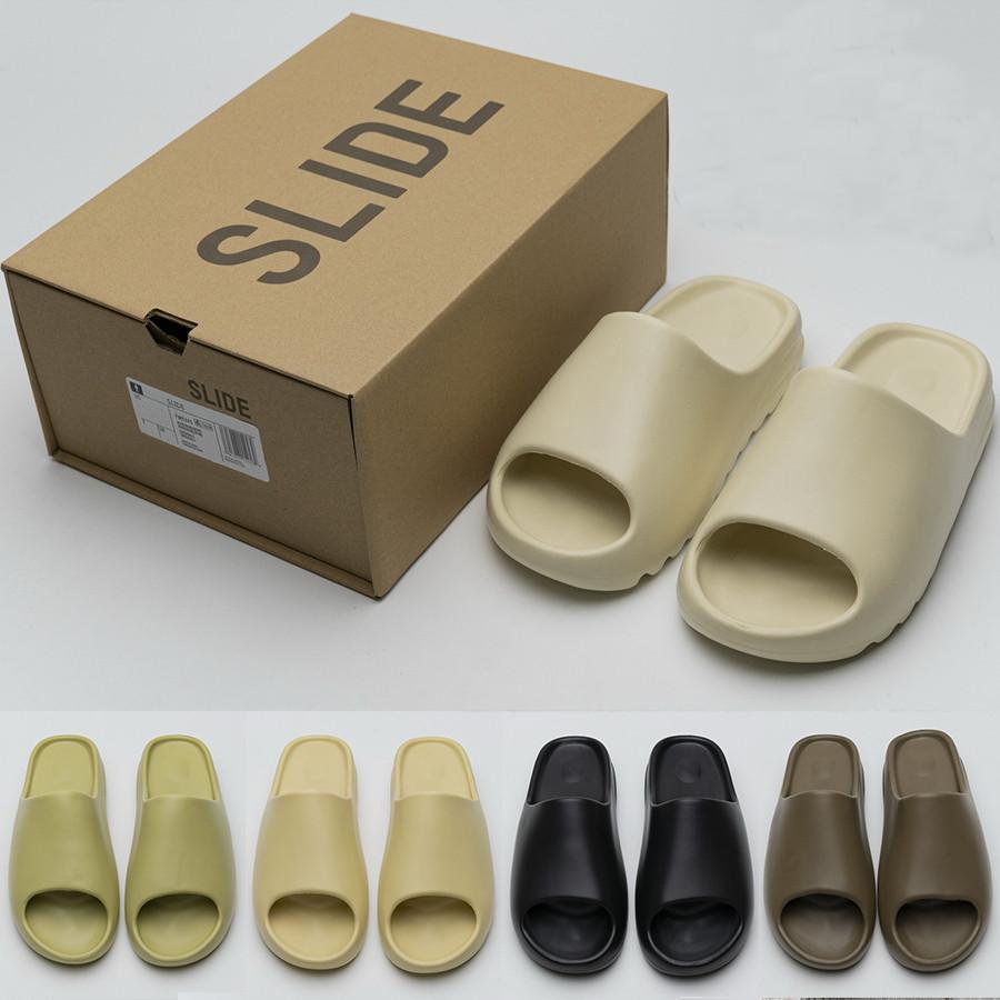 [com caixa] 2021 confortável kanye slides west slippers deserto areia verão castanho castanho homens mulheres praia resina slide sandal homens slipper slipper graffiti osso borracha 36-45