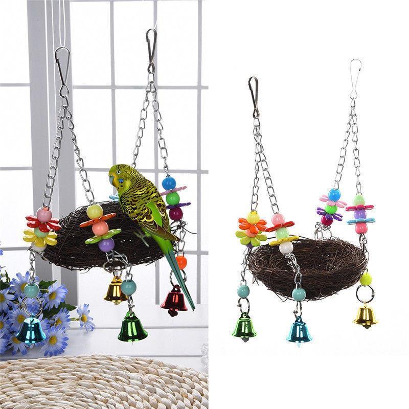 El Sanatları Aksesuarları Jingle Bells Pet Kuş Yuva Hamak Salıncak Parakeet Budgie Asılı Çiğnemek Oyuncaklar Papağan Parakeet Budgie Cockatiel