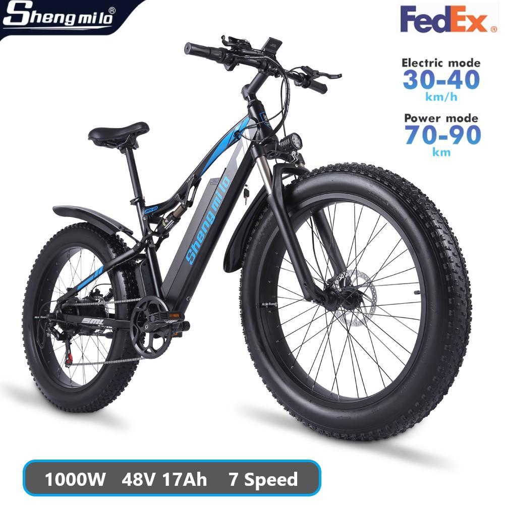 Shengmilo mx03 elettrico 1000 w mountain bike 48v adulto grasso pneumatico bicicletta 40km / h e-bike città ciclomotore