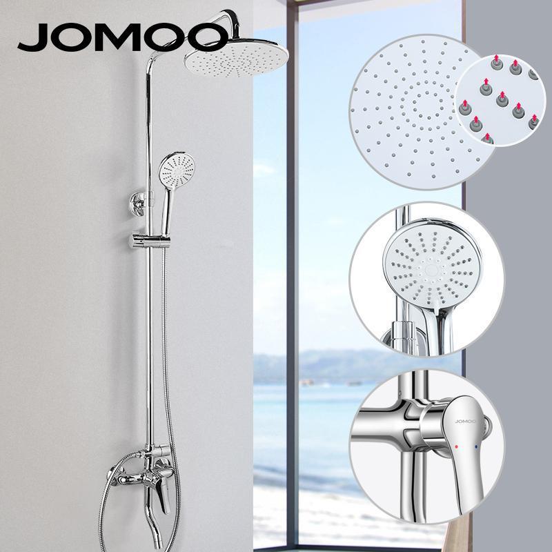 Jomoo Thermostatic Shower 세트 욕실 샤워 수도꼭지 핫 및 콜드 믹서 황동 수도꼭지 욕조 시스템 자동 온도 조절 믹서