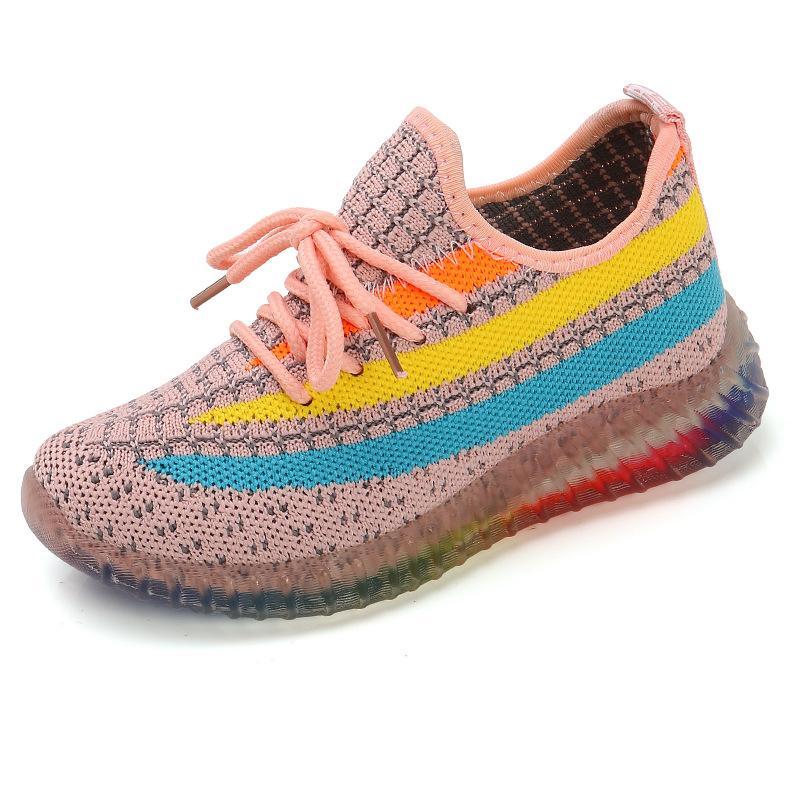 Primavera Autunno 2021 Nuovo arcobaleno Scarpe per bambini Scarpe da ragazze Scarpe Bambina Scarpe da cocco Boys Sneakers traspiranti