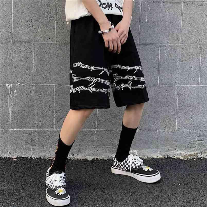 Erkek Giyim Yüksek Sokak Hip-Hop Kişilik Gotik Şort Erkekler Ve Kadınlar için Diz Pantolon Casual 210716